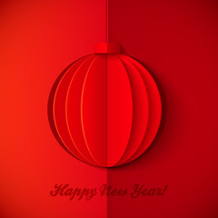Red origami paper vector New Year ball