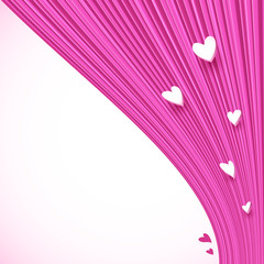 Abstract pink lines background with little hearts