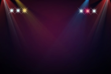 Colorful stage on dark light background