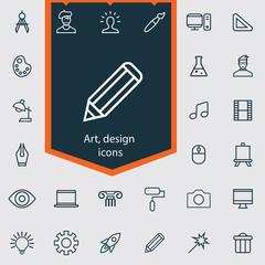 art, design outline, thin, flat, digital icon set