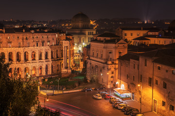 Fototapete - Old Town in Rome, Italy at night