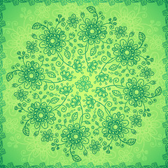 Green doodle flowers vector background