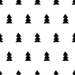 Vector xmas pattern with xmas trees. Scandinavian style.