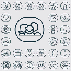 family outline, thin, flat, digital icon set