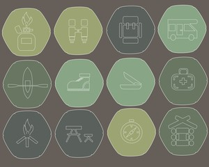 Camping flat icons hexagon. Green khaki, dark blue, vector
