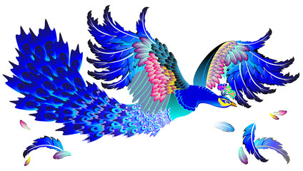 Illustration of Magic blue bird, vector cartoon image.
