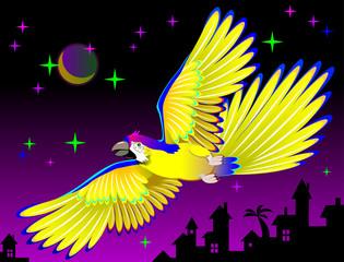 Illustration of fantastic flying bird, vector cartoon image.