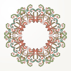 Ornamental abstract round floral pattern. Circular colorful ornamental frame. Vector illustration