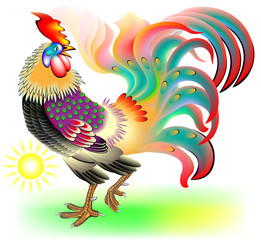 Illustration of cock, vector cartoon image.