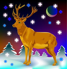 Illustration of deer, vector cartoon image.