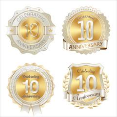 Gold and White Anniversary Badge 10th Years Celebrating