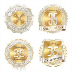 Gold and White Anniversary Badge 35th Years Celebrating