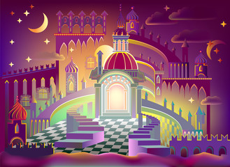 Fairyland fantasy castle, vector cartoon image.