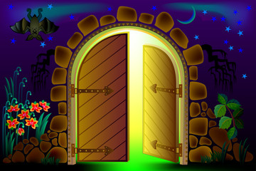 Fairyland fantasy gate, vector cartoon image.