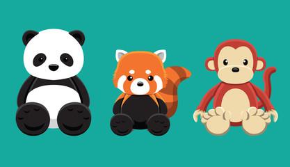 Panda Red Panda Monkey Doll Set Cartoon Vector Illustration
