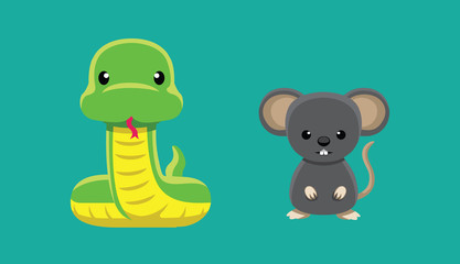 Snake Rat Doll Set Cartoon Vector Illustration