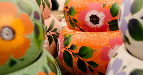 Mexican ceramic pots, large orange and green  variety