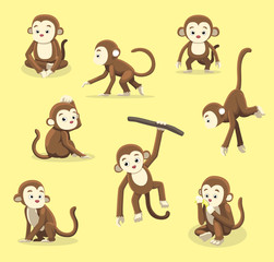 Monkey Poses Cartoon Vector Illustration