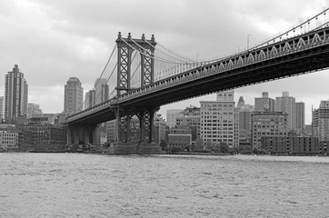 Manhattan Bridge and East River, New York City