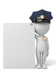 3d policeman with a signboard. 3d image. Isolated white background.