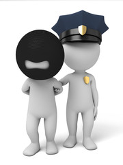 3d policeman arrest a thief. 3d image. Isolated white background.