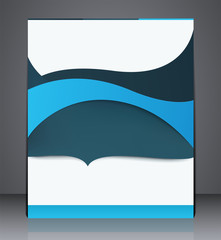 Abstract digital business brochure flyer, design in A4 size, layout cover design with waves in blue colors.