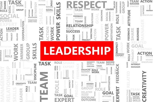 Leadership word in tag cloud, Company management concept, Vector