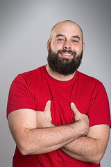 young bearded man in red shirt