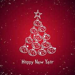 White snow Christmas tree. Happy Christmas and New Year card vector Seasons Greeting glowing on a red background