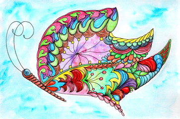 Gorgeous fantastic cosmic butterfly