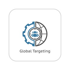 Global Targeting Icon. Flat Design.