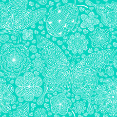 Seamless pattern with flowers, hearts and butterflies. Romantic floral background in blue and turquoise colors. Detailed vector illustration.