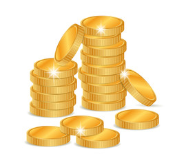 Vector illustration stacks of golden coins isolated on a white background