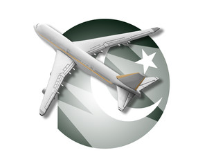 Plane and Pakistan flag.