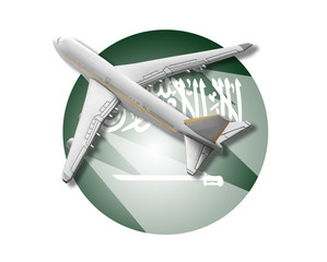 Plane and Saudi Arabia flag.