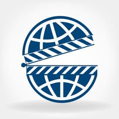 clapboard with globe logo