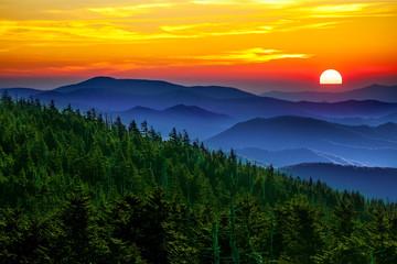 Garden Poster Honey Smoky mountain sunset