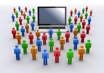ノートパソコンと人々