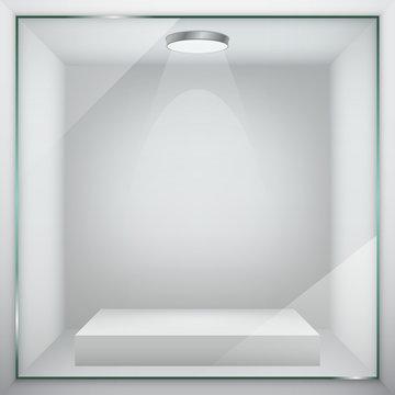 Empty glass showcase for exhibit. Vector illustration.