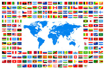All Flags and World Map. Blue simple. Vector Collection of World Flags and Map.