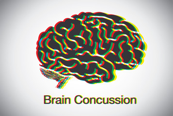 Brain shaking until look like many brain overlap meaning to concussion symptom of brain. This illustration about medical and symptom.