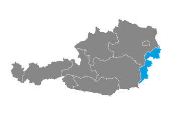 Burgenland highlighted on Austrian map