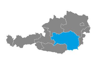 Styria highlighted on Austrian map