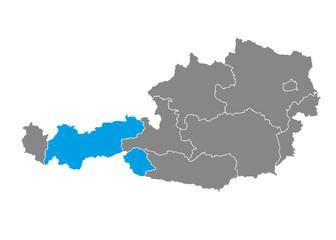 Tyrol highlighted on Austrian map