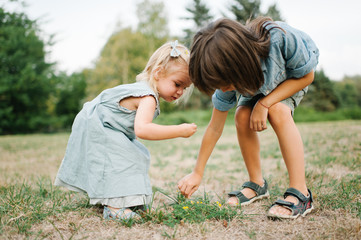 Cute portrait of young brother and sister playing in the park on grass