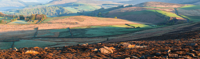 Panoramic View of Peakland at Early Spring. Sunrise in Peak District