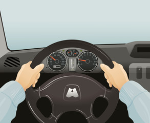Driving of a car. Vector illustration