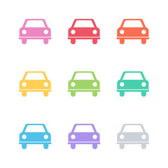 Set of flat color car icons. Vector illustration.