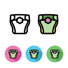 Illustration. Flat icon with diaper. Pink, blue, green