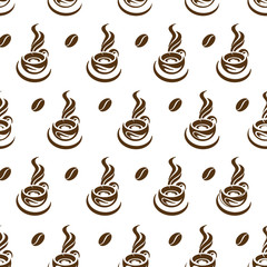 monochrome seamless pattern of coffee cup